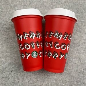 Starbucks Christmas reusable red hot cups set of 2